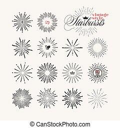 disegnato, starburst, set, elementi, mano