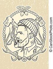 disegnato, taglialegna, pipe., tabacco, mano