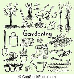 disegnato, tools., giardino, mano
