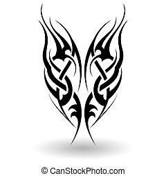 disegnato, tribale, mano, tatuaggio