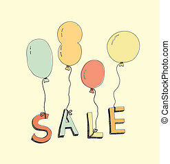 disegnato, vendita, illustrazione, mano