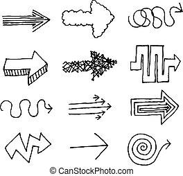 disegnato, vettore, set, freccia, mano