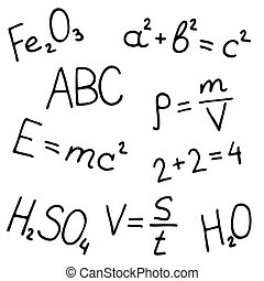 disegnato, vettore, set, mano, formule