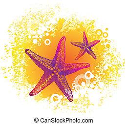 disegnato, vettore, starfishes, mano