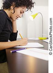 disegni, donna, lavorativo, progetto moda, studio