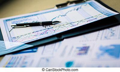 disegni, e, tabelle, di, riuscito, affari, posto lavoro, di, il, uomo affari, in, ufficio