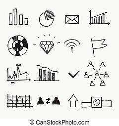 disegni, elementi, affari, scarabocchiare, mano, infographic, disegnato