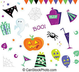 disegni elementi, halloween, icone