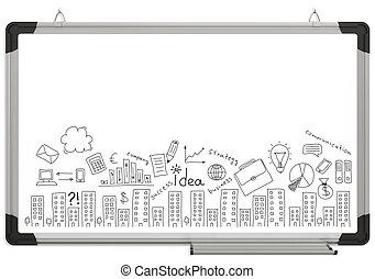 disegni, magnetico, cartoncino bianco, affari