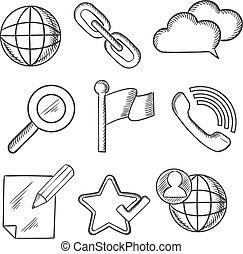 disegni, multimedia, telecomunicazione, icone