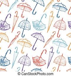 disegni, ombrelli, colorito, modello, seamless