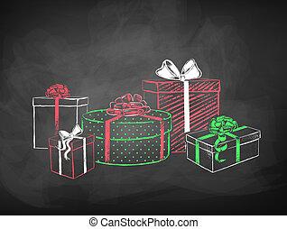 disegni, regalo, colorare, gesso, scatole, vettore