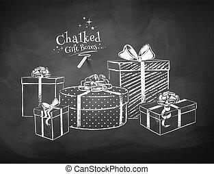 disegni, regalo, gesso, scatole, vettore, bianco