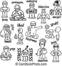 disegni, situazioni, vario, cartone animato, uomo