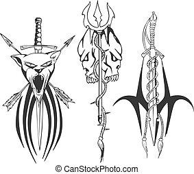 disegni, tatuaggio, tridente, pugnale, fantasia, spada