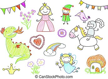 disegni, vettore, fairy-racconti, caratteri