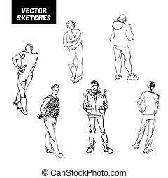 disegni, vettore, set