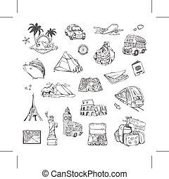 disegni, viaggiare, set, icone
