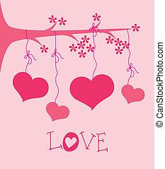 disegno, albero, amore