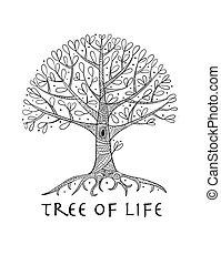 disegno, albero, tuo, radici