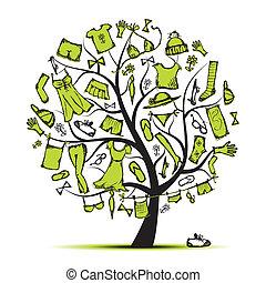 disegno, albero vestiti, guardaroba, tuo