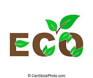 disegno, amichevole, element., environment., eco, vettore