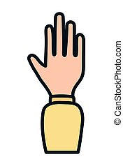 disegno, aperto, icona, mano, fermi gesto, elevato, umano