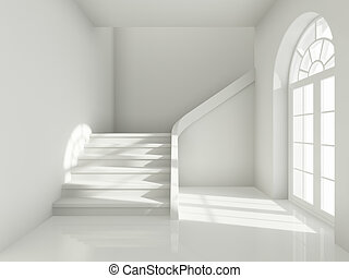 disegno architettonico, di, corridoio, con, scala