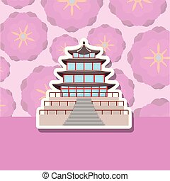 disegno, architettura, asia
