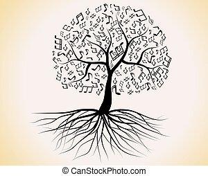 disegno, astratto, albero, tuo, musicale