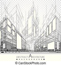 disegno astratto, architettonico, fondo