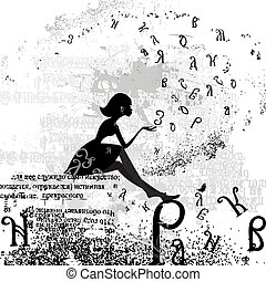disegno astratto, con, uno, ragazza, grunge, testo
