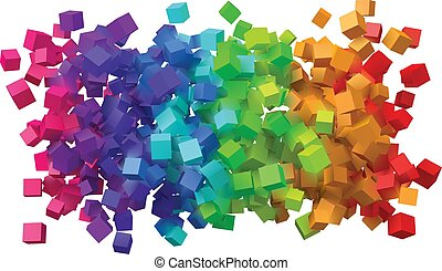disegno astratto, cubes., colorito