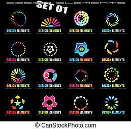 disegno astratto, elementi, -, set, 1, su, nero