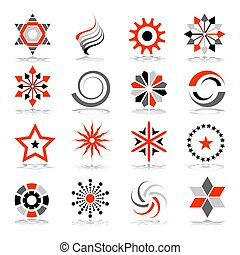 disegno astratto, set., elements., icone