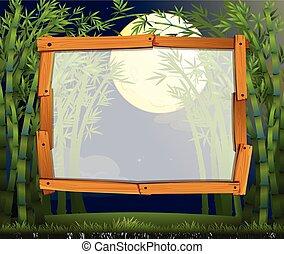 disegno, bambù, bordo, foresta, notte