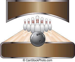 disegno, bandiera, sagoma, bowling