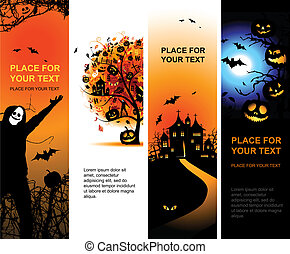 disegno, bandiere, halloween, tuo, verticale