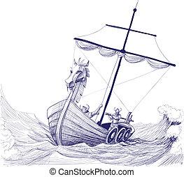 disegno, barca, vettore, drakkar, lungo