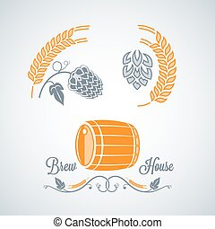 disegno, birra, etichette, set