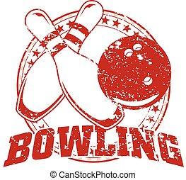 disegno, bowling, -, vendemmia
