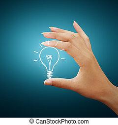 disegno, bulbo, luce, idea, mano