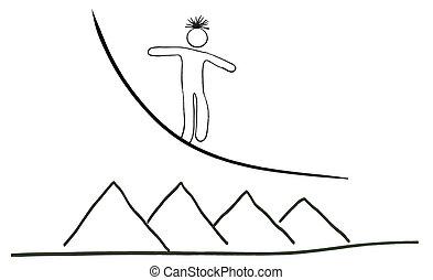 disegno, camminare fune, cercando, equilibrio