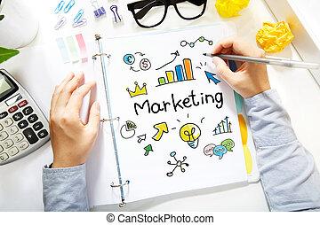 disegno, carta, persona, marketing, concetto, bianco