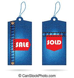 disegno, cartellino del prezzo, jeans, speciale