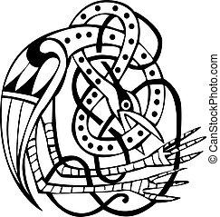 disegno, celtico, linee, annodato, uccello