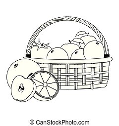 disegno, cesto, arance, mele