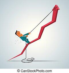 disegno, concetto affari, arrow., climbing., uomo affari, salita