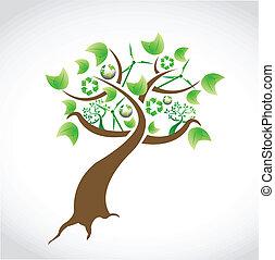 disegno, concetto, albero, naturale, illustrazione