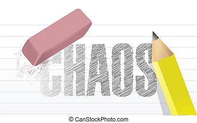 disegno, concetto, cancellare, caos, illustrazione